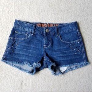 Hydraulic Denim Cut Off Studded Shorts